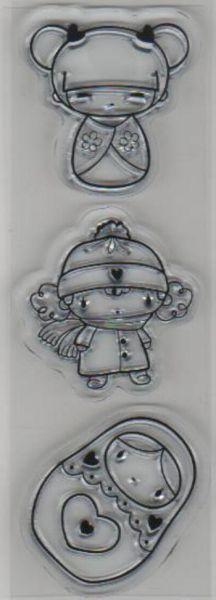 Tampons transparents poupée Russe lot de 3 pièces