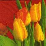Serviette papier tulipes jaunes.