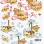 Feuille 3D lapin et fleurs