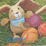 Serviette papier lapin peluche de Pâques