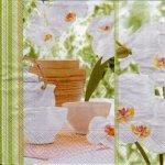 Serviette papier Asie et fleurs blanche 33 cm X 33 cm 3 plis