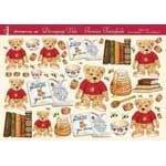 5 Feuilles papier découpages 3 D motif oursons et miel