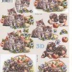 Feuilles 3D chat et pommes à découper