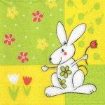 Serviette papier Paques et lapin blanc