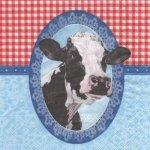 Serviette papier vache et cadre 33 cm X 33 cm 3 plis
