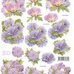 Feuille 3D  fleurs violette pour découpage