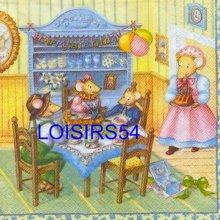 Serviette papier motif familles souris