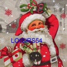 Serviette papier père Noël et neige