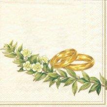 Serviette papier motif mariage 2 alliances et fleurs