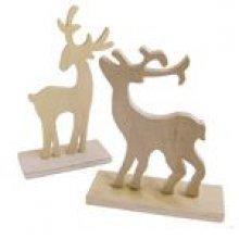 Cerfs en bois de Noël lot de 2 - 130 mm et 150 mm