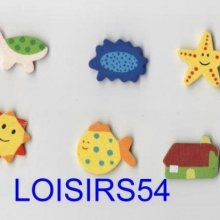 Stickers bois coloré 6 pieces animaux