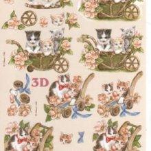 Feuilles 3D 3 chatons à découper