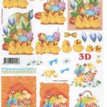 Feuille 3D 3 poussins Pâques