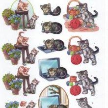 Feuille 3D prédécoupé 2 chatons