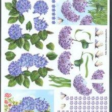 Feuilles à découper 3D fleurs bleue