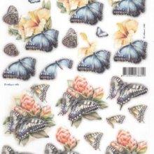 Feuille 3D prédécoupé papillon bleu et fleurs jaune