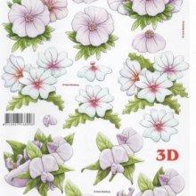Feuilles 3D fleur blanche