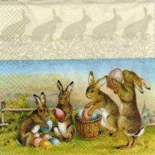 Serviette papier 4 lapins de Paques 33 cm x 33 cm