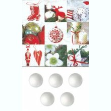 5 boules 5 cm + 2 serviettes Noël