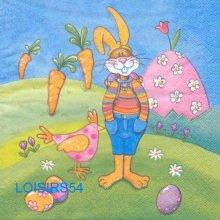 Serviette papier grand lapin de Pâques