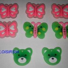 Boutons plastique papillon vert lot de 8 de 25 mm pour la couture