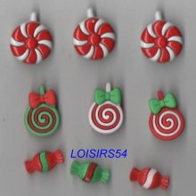 Lot de 9 boutons bonbons résine plastique de 20 mm pour la couture