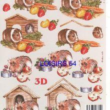 Feuille 3D hamster et pommes