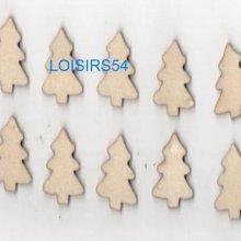Sapins en bois 2 cm lot de 10 pièces pour décoration