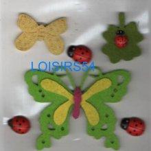 Papillons feutrine autocollant scrapbooking