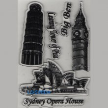 Tampon transparent Big Ben, Sidney, Pise  pour décoration 3 pièces