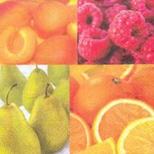 Serviette papier motif fruits et agrume 33 cm X 33 cm 3 plis
