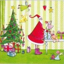Serviette papier Noël et angelots 33 cm X 33 cm 3 plis