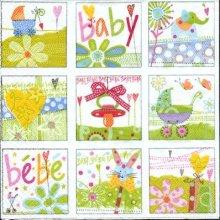 Serviette papier baby 33 cm X 33 cm 3 plis