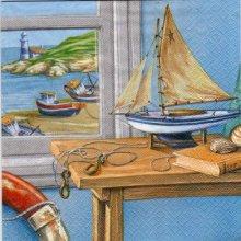 Serviette papier bateau et mer 33 cm X 33 cm 3 plis