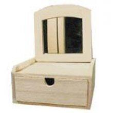 Boîte bijoux 1 tiroir + 1 miroir 160 mm x 150 mm x 80 mm