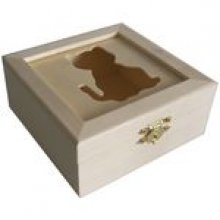 Boite bois carré 120mmx120x53mm découpe chat