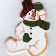Bonhomme de neige en bois peint 5 cm