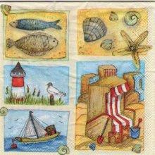 Serviette papier bord de mer et poisson 33 cm X 33 cm 3 plis