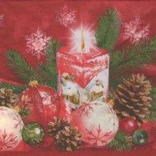Serviette papier bougie de Noël 33 cm X 33 cm 3 plis