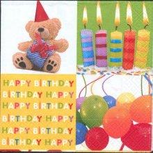 Serviette papier motif anniversaire et bougie