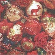 Serviette papier Boules Père Noël 33 cm X 33 cm 3 plis