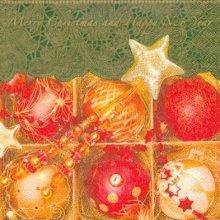 Serviette papier Boules Noël et étoile 33 cm X 33 cm 3 plis