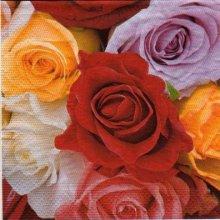 Serviette bouquet de roses rouges 33 cm X 33 cm 3 plis