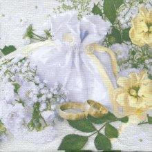 Serviette papier motif mariage bouquet et alliances