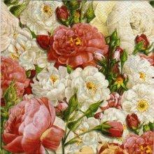 Serviette papier bouquets de roses de 40 cm X 40 cm 3 plis