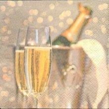 Serviette papier bouteille  de champagne