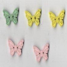 Boutons bois papillon lot de 5 pièces 20 mm