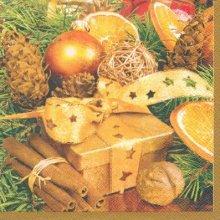 Serviette papier cadeaux et boules 33 cm X 33 cm 3 plis