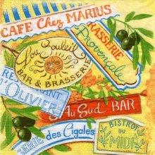 Serviette papier Café chez Marius de 33 cm X 33 cm