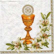 Serviette papier communion + calice doré 33 cm x 33 cm